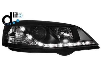 Scheinwerfer mit echtem Tagfahrlicht Opel Astra G schwarz