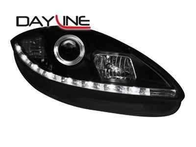 Scheinwerfer mit LED-Standlicht in Tagfahrlicht-Optik Seat Leon 1P 05-09 schwarz
