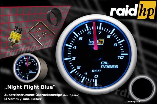Öldruckanzeige Serie Night Flight Blue