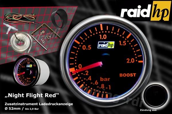 Ladedruckanzeige Serie Night Flight Red