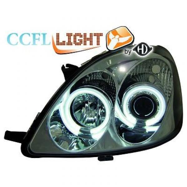Scheinwerfer / Frontleuchte mit Standlichtringen in CCFL Technik. Toyota Yaris 99-05