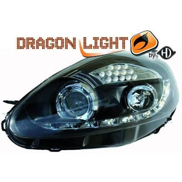 Scheinwerfer mit LED-Standlicht in Tagfahrlicht-Optik. Fiat Grande Punto 05-10.08