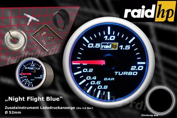 Ladedruckanzeige Serie Night Flight Blue