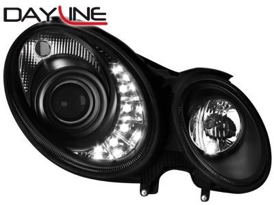 Scheinwerfer mit LED-Standlicht in Tagfahrlicht-Optik Mercedes B. W211 E-Klasse 06-08 schwarz