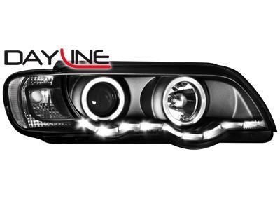 Scheinwerfer mit LED-Standlicht in Tagfahrlicht-Optik BMW X5 99-03 E53 2 Standlichtringe schwarz