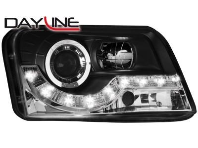 Scheinwerfer mit LED-Standlicht in Tagfahrlicht-Optik Fiat Panda 2003-09.09 schwarz