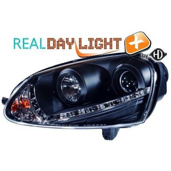 Scheinwerfer / Frontleuchte mit echtem Tagfahrlicht RL87 Kennung. VW Golf 5 03-08, Jetta 5 03-08