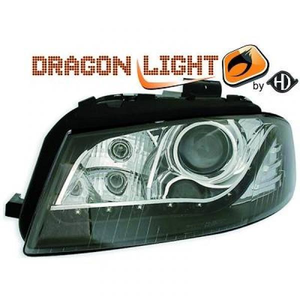 Scheinwerfer / Frontl. mit LED-Standlicht in Tagfahrlicht-Optik. Audi A3 8P 03-08
