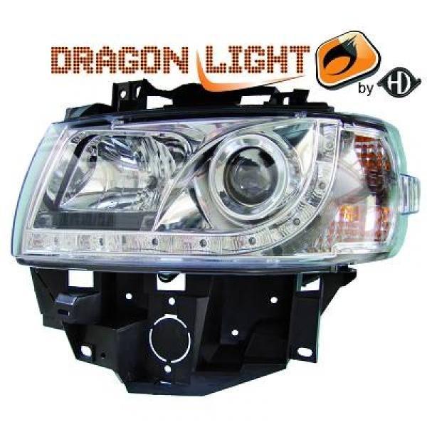 Scheinwerfer / Frontleuchte mit LED-Standlicht in Tagfahrlicht-Optik. VW T4 Caravelle/Multivan 96-03