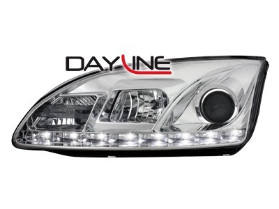 Scheinwerfer mit LED-Standlicht in Tagfahrlicht-Optik Ford Focus 05-02.08 chrom